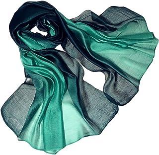 Bullidea Women's Scarf Elegant Long Ladies Shawl Wrap Warm Autumn Winter Cotton Silk Scarf Gradient Color