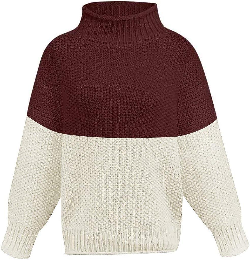 ZEELIY Damen Rollkragen Strickpullover Strickpulli Einfarbig Langarm Pulli Pullover Grobstrick Sweatshirt Winterpullover X1-wein