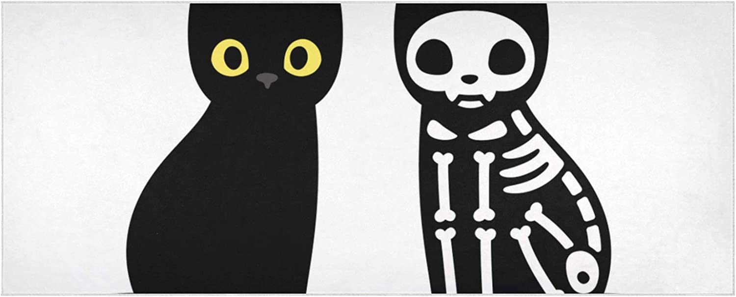 Women's Warm Max 41% OFF Scarf Cartoon Black Extr Sales for sale Drawing Skeleton Cat Cute
