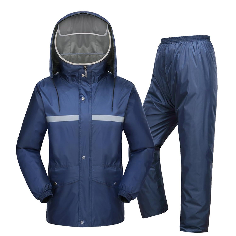 [Yeespring] 梅雨対策 両面使え レインコート 男女兼用 上下セット 二重構造帽子 胸元に反射帯付き 自転車に最適