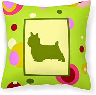 "Caroline's Treasures CK1056PW1414 Lime Green Dots Norwich Terrier Pillow, 14"" x 14"", Multicolor"
