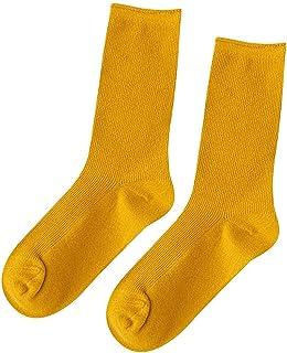 ZEZKT, calcetines deporte mujer calcetines de algodón de tubo medio otoño casual calcetines running mujer calcetines media simple color sólido calcetines retro de doble aguja