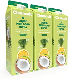 Cleancult Dish Soap Refill, Natural Ingredients, Lemongrass Scent, 32 oz, 3 Pack, Cruelty Free, Degreaser, Eco Friendly Di...
