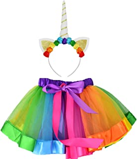 Sparkling Unicorn Tutu Skirt and Unicorn Headband Outfit for Girls 2T, 3T,4T,5T,6T,7T Birthday Party Costumes Set