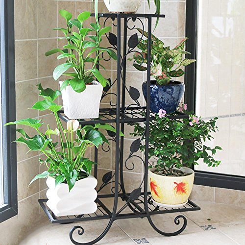 LLLXUHA Art de Fer métal Multi-Couche Support de Fleurs, intérieur Salon Type de Plancher Cadre de bonsaï, de Plein air Jardin Plantes charnues Présentoir, Black, 23 * 58 * 82cm