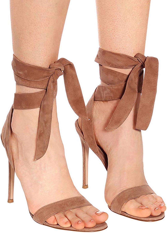 XWQYY High-Heels Sandalen Mode groe Riemen Design sexy,Dark braun-46EU