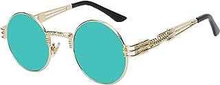 Sunglasses Men Women Metal Wrapeyeglasses Round Shades Sun Glasses Mirror