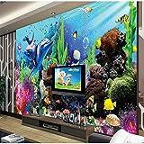 Murales Personalizados A Gran Escala Mundo Submarino Acuario 3D Estéreo Peces Tropicales TV Telón De Fondo Papel Tapiz-Los 250 * 175Cm