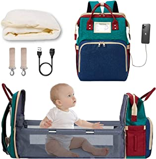 Diaper Bag Backpack with Extendable Folding Crib YXUN Baby Bag for Girls Boys with Changing Station USB Charge Port Large Capacity,Waterproof and Stain Resistant Dry and Wet Separation Area(Blue)
