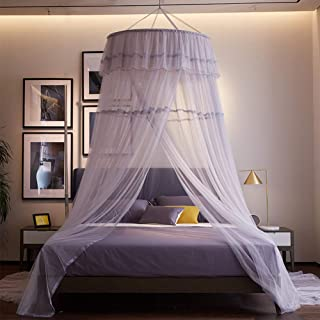 Wenset Luxury Lace Decor Mosquito net, Mesh 300 Princess Grey Jumbo Bed Canopy for Double to Super Queen Size Insect Protection Repellent Easy Installation-Hook