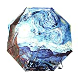 GLODEALS Van Gogh Masterpiece Oil Painting Automatic 3 Folding Parasol Sun Protection Anti-UV Umbrella for Women (Starry Night)