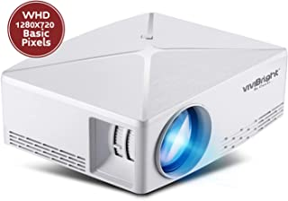 VIVIBRIGHT Portable Projector C80, Native 720P Resolution, 2500 White Light Brightness for Home Entertainment DC12V@5A Adapter Type Power Supply