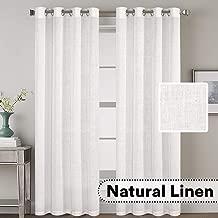 H.VERSAILTEX Elegant Natural Linen Blended Energy Efficient Light Filtering Curtains/Nickel Grommet Window Treatments Panels/Drapes (Set of 2, White, 52