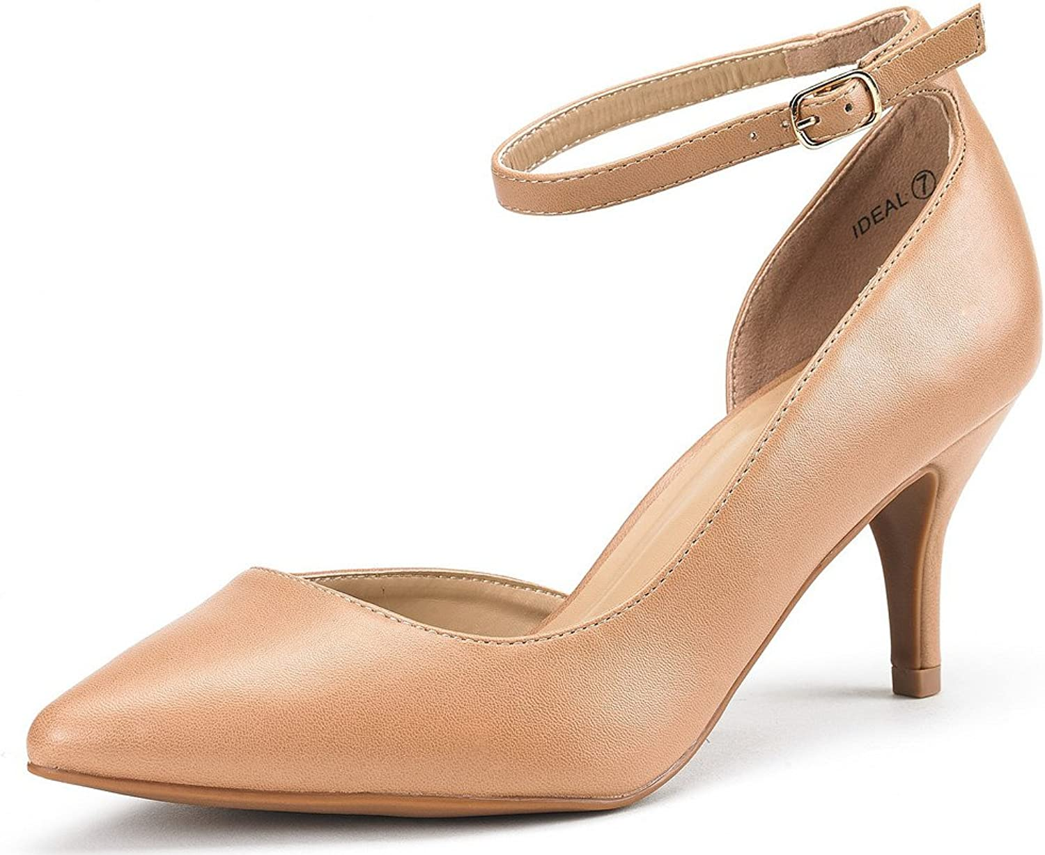 DREAM PAIRS Ideal Women's Low Heel Ankle Strap D'Orsay Pointed Toe Pump shoes