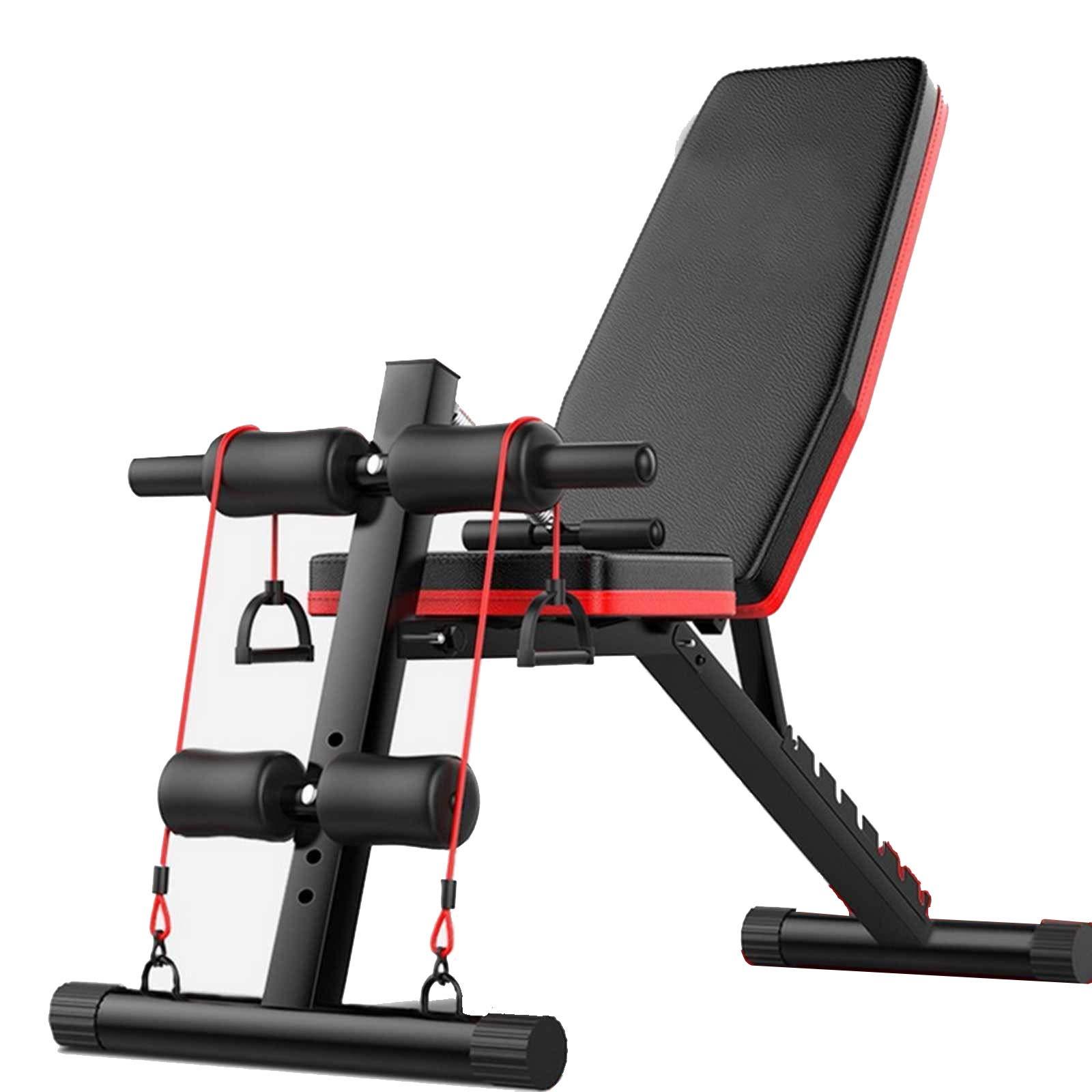 Tengma Sit up Bench, Weight Bench Adjustable, Workout Benches for Home, Olympic Weight Bench, Strength Training Bench, Incline/Decline Abs Bench Press Flat Bench Fly Weight Press Fitness Rope