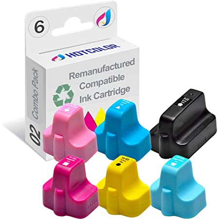HOTCOLOR Remanufactured HP 02 printer Ink Cartridges Replacement for HP 02 Ink for HP photosmart C7280 C6280 D7360 C5180 C6180 C7200 Printer (Black, Cyan, Magenta, Yellow, Light Cyan, Light Magenta, 6-Pack)