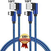 90 Degree Micro USB Cable, MIUOLV 2Pack 10FT Long Right Angle Micro USB Charging Cable,Fast Speed Data Sync Charger Cable for Samsung, Nexus, LG, Motorola, Android Smartphones and More (Blue)