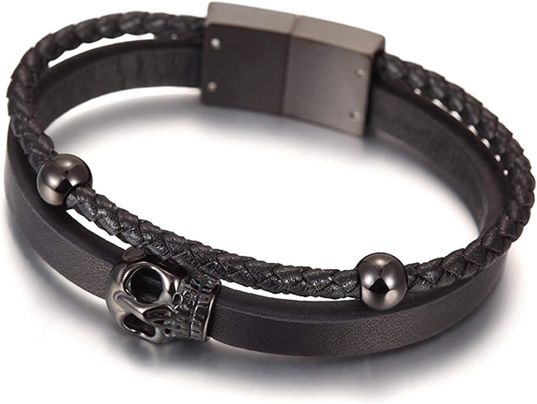 Avery and May Big Goth Punk Rock Braided Skull PU Leather Arm Cuff Bangle Bracelet for Men, Women, Black