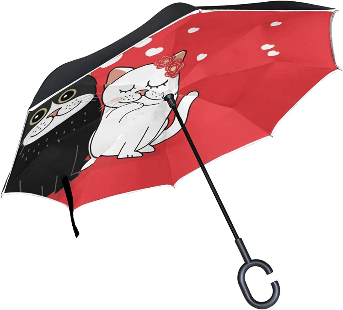 Inverted Umbrella Cute Max 73% OFF Cats Love W Valentines Day Happy Online limited product