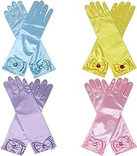 Qunan Girls Long Satin Gloves Belle Elsa Anna Sofia Aurora Rapunzel Cinderella Princess Dress Up for Girls Kids