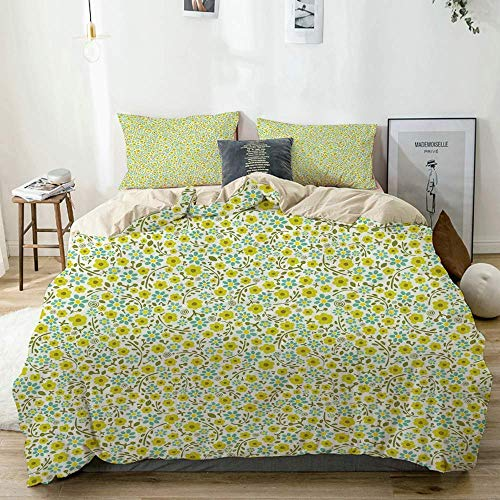 Jojun Duvet Cover Set Beige,Blossoming Spring Flora in Green Shades Ditsy Style Nature Pattern,Decorative 3 Piece Bedding Set with 2 Pillow Shams Easy Care Anti-Allergic Soft Smooth