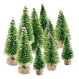 NIU MANG Mini-Weihnachtsbaum, Sisalbäume mit Holzsockel, künstlicher Schnee, Frost, Kiefern,...