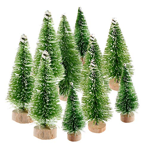 NIU MANG 10 Pcs Miniature Christmas Tree Mini Sisal Trees with Wood Base Artificial Snow Frost Trees Pine Trees Artificial Sisal Snow Frost Trees(4 Sizes, Grass Green)