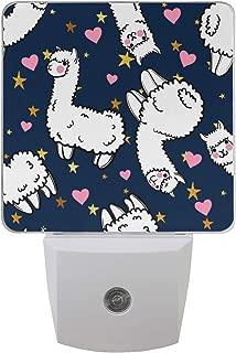 XLING Home Plug in LED Night Light Valentine Cute Animal Alpaca Star Night Lamp Light with Auto Dusk-Dawn Sensor Bathroom Bedroom Kitchen for Adult,Set of 2