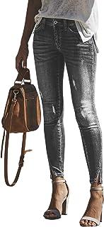 Sponsored Ad - PRETTYGARDEN Women's Mid Rise Stretch Ripped Slim Slit Hem Jeans Distressed Denim Pants Bottoms