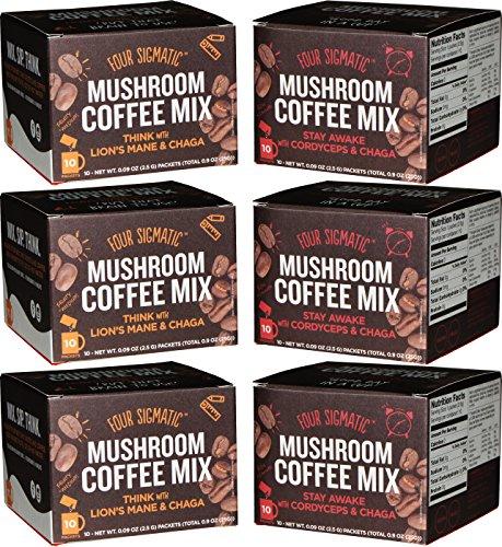 Four Sigmatic Mushroom Coffee Mix Pack of 6 - Lions Mane and Chaga & Cordyceps and Chaga