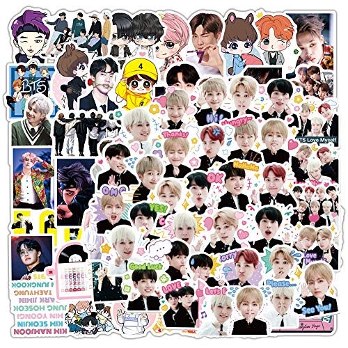 BTS Sticker Pack, 90Pcs Pop Singer BTS Stickers Kpop Bangtan Boys Stickers Water Bottles Laptop Car Phone Motorcycle Skateboard Computer Vinyl Sticker Waterproof Decals for Teens Boys Girls Adults