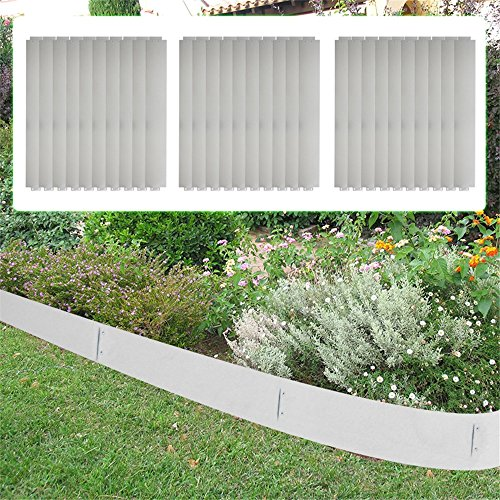 MCTECH® 30 x Rasenkante Metall verzinkt Beetumrandung Beeteinfassung Mähkante, 14cm hoch, 100cm lang (30m)