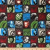 Marvel 0661008 Avengers Hero Block in Charcoal Fabric