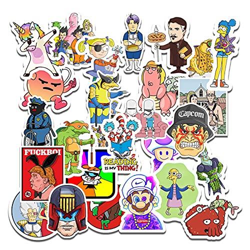 XXCKA 50 Personajes de Anime en una colección de Pegatinas Decorativas para computadora móvil de Mario Simpson