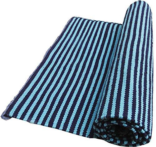 Awadh Chikan Craft Organic Cotton Handmade Yoga Mat Meditation Mat Washable Skin-Friendly Easy Foldable Rug 24x72 inches