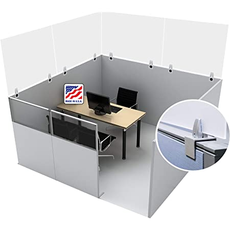 Perfect for Offices Protective Acrylic Shield /& Sneeze Guard Cubicle Wall Extender Libraries /& More Clear Offex Antimicrobial Desktop Panel 24 x 30 Clamp-On Schools