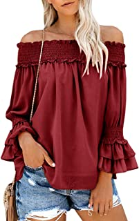 Womens Ruffle Off Shoulder Blouse Casual Long Bell Sleeve Cute Crop Top T Shirt