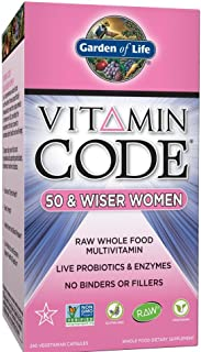 Garden of Life Multivitamin for Women - Vitamin Code 50 & Wiser Women's Raw Whole Food Vitamin Supplement with Probiotics, Vegetarian, 240 Capsules