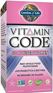 Garden of Life Multivitamin for Women - Vitamin Code 50 & Wiser Women's Raw Whole Food Vitamin Supplement with Probiotics, Vegetarian, 240 Count