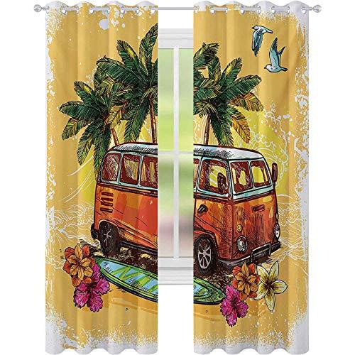 Niños cortinas opacas, Hippie Classic Old Bus con tabla de surf Libertad Vacaciones Vida Exótica Sketchy Art, W52 x L95 Panel de cortina de ventana para cuarto de guardería, amarillo, naranja, verde