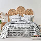 FlySheep 3-Piece Lightweight Bohemian Geometric King Quilt Set, Aztec White n Black Striped Summer Bedspread/Coverlet, Brushed Microfiber for All Season - 104' x 90'