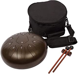 Luvay Steel Tongue Drum - 11 Notes 10 inches - Percussion Instrument - with Bag, Book, Mallets, Finger Picks