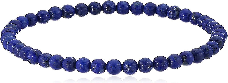 4mm Smooth Round Lapis Lazuli Stretch Bracelets in Various Sizes