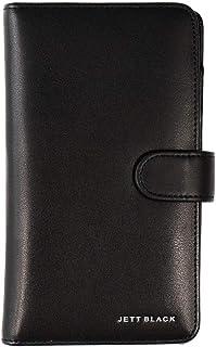 JETT BLACK Compact Travel Wallet Leather Passport Holder Document Card Organiser Bag