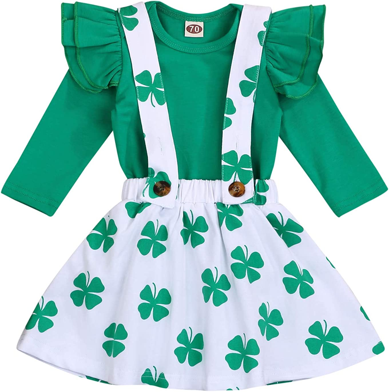 Baby Girl St.Patrick's Day Skirt Set Toddler Girls Ruffle Sleeve Shirts Clover Suspender Dress Outfits