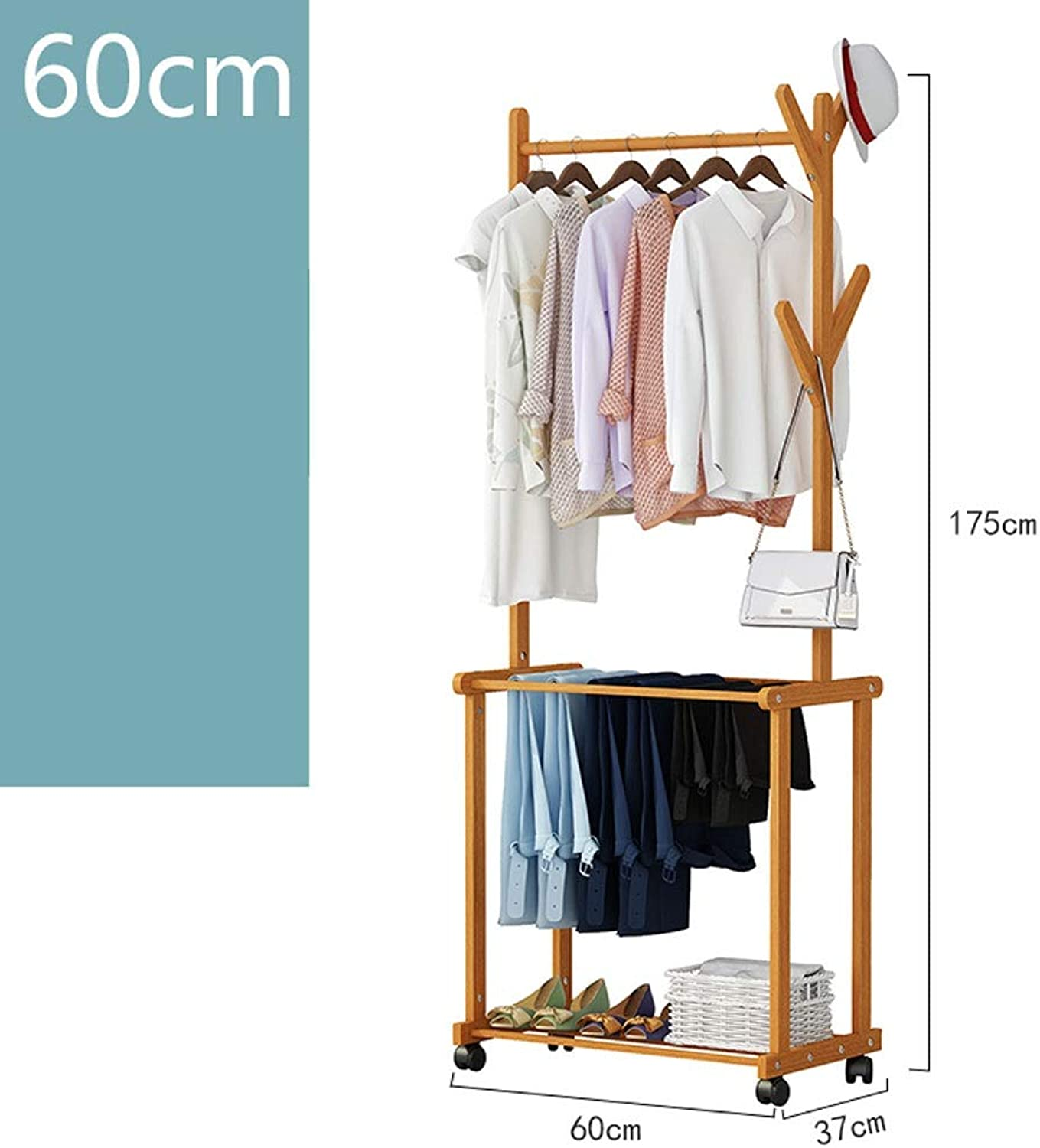 SXCVBN Coat Rack, Coat Rack - Creative Living Room Hanger - Nan Bamboo Floor Clothes Shelf - Bedroom Mobile Storage Rack -Hat and Coat Stand Hall shoes Rack Umbrella Bag Stand with Removable 176CM