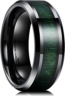 Nature 8mm Mens Black Tungsten Carbide Wedding Ring Green Wood Inlaid Comfort Fit