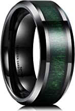 King Will Nature 8mm Mens Black Tungsten Carbide Wedding Ring Green Wood Inlaid Comfort Fit