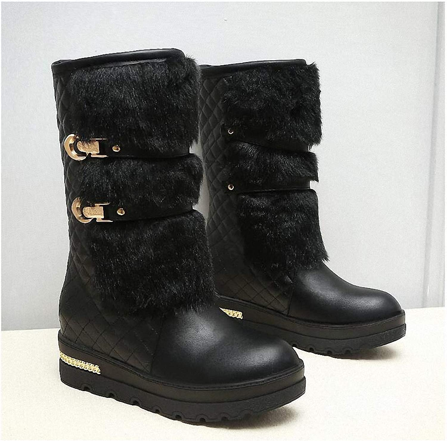 Womens Backpacking Boots Large Size 34-43 Women Winter Boots Fashion Hidden Wedges Warm Fur shoes Woman Platform Med-Calf Snow Boots N164