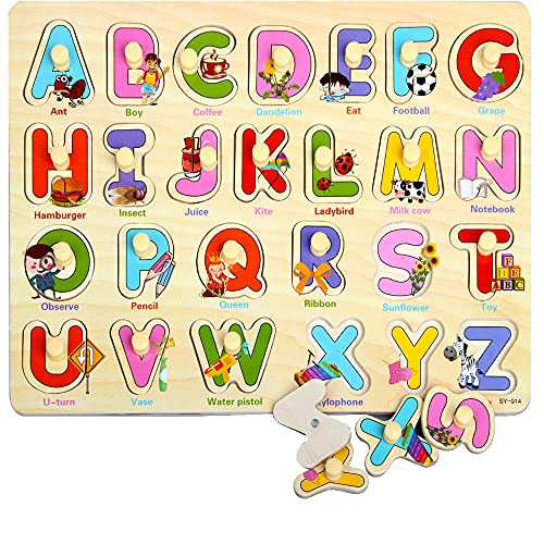 Rompecabezas de Madera, ZoneYan Puzzles de Madera, Regalo Ideal Toys Puzzle Infantil de Madera, Los Rompecabezas de Madera Incluye 4 Tipos de Rompecabezas Alfabeto Número Ocupaciones Puzzles de Madera